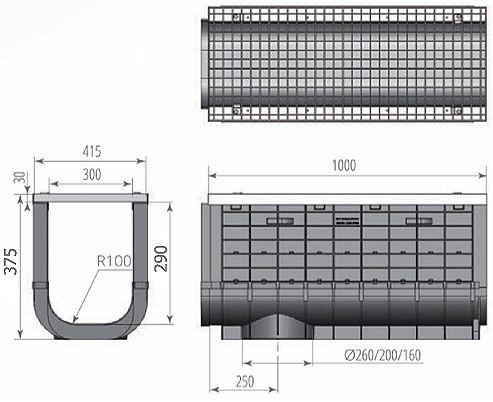 Чертежный вид: ЛВП Profi Plastik DN300 H375 A15 с решеткой