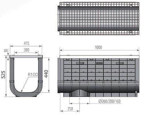 Чертеж: ЛВП Profi Plastik DN300 H525 A15 с решеткой