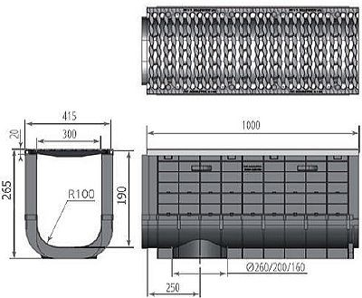 Чертеж: ЛВП Profi Plastik DN300 H265 С250 с решеткой
