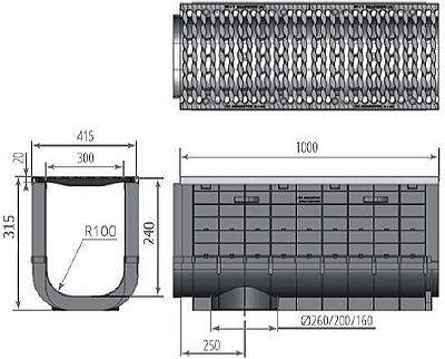 Чертеж: ЛВП Profi Plastik DN300 H315 С250 с решеткой