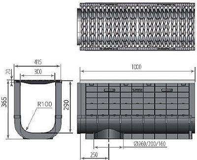 Чертеж: ЛВП Profi Plastik DN300 H365 С250 с решеткой
