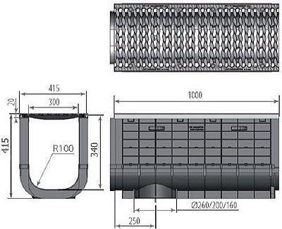 Чертеж: ЛВП Profi Plastik DN300 H415 С250 с решеткой