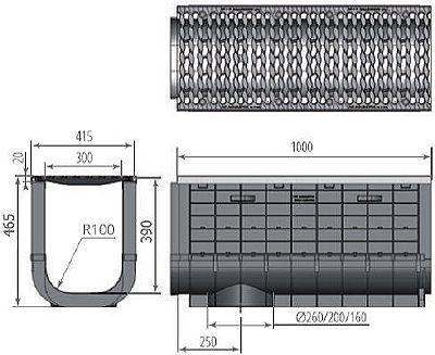 Чертеж: ЛВП Profi Plastik DN300 H465 С250 с решеткой