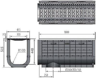 Чертеж: ЛВП Profi Plastik DN300 H515 С250 с решеткой