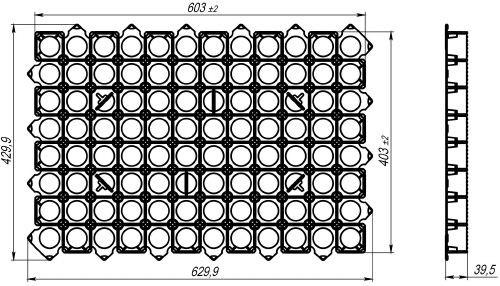 Чертеж: решетка РГ-60.40.3,8 зеленая