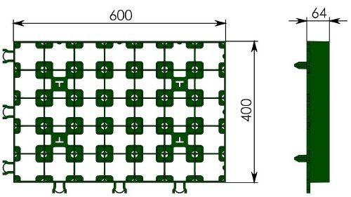 Чертеж: решетка Gidrolica Eco Super РГ-60.40.6,4 зеленая