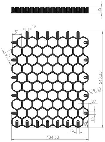 Чертеж: решетка Gidrolica Eco Normal РГ-53.43.3,5 черная