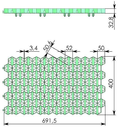 Чертеж: решетка Gidrolica Eco Standart РГ-70.40.3,2 зеленая