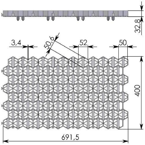 Чертеж: решетка Gidrolica Eco Standart РГ-70.40.3,2 черная