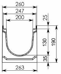 Схема 1: Бетонный лоток КП 100.26,3 (20).19(15,5) - BGF-Z