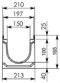 Схема 1: Бетонный лоток BGU-Z DN150 H165, без уклона