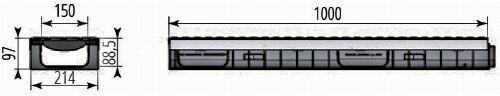 Чертежный вид лотка Profi Plastik DN150 H97