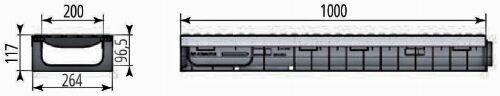 Чертежный вид лотка Profi Plastik DN200 H117