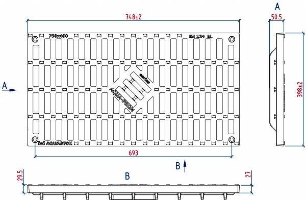 Чертежный вид чугунной решетки 750х400