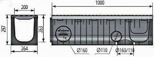 Чертежный вид лотка Profi Plastik DN200 H297