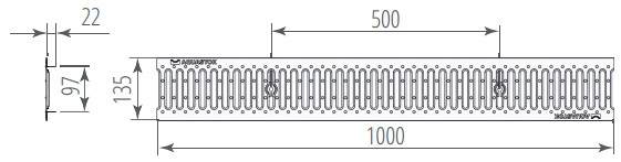 Водоприемная решетка щелевая DN100 штампованная стальная оцинкованная