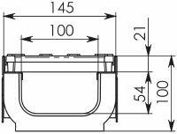 Чертеж: Комплект: Лоток водоотводный Super ЛВ -10.14,5.10 – пластиковый c решеткой чугунной кл. E (D)