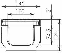 Чертеж: Комплект: Лоток водоотводный Super ЛВ -10.14,5.12 – пластиковый c решеткой чугунной кл. E (D)