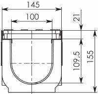 Чертеж: Комплект: Лоток водоотводный Super ЛВ -10.14,5.15,5 – пластиковый c решеткой чугунной кл. E (D)
