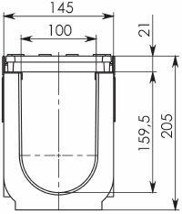 Чертеж: Комплект: Лоток водоотводный Super ЛВ -10.14,5.20,5 – пластиковый c решеткой чугунной кл. E (D)