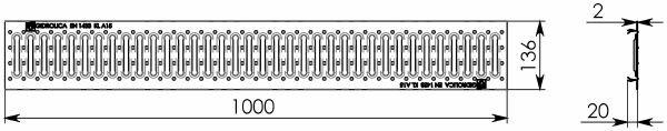 Решетка водоприемная РВ -10.13,6.100 - штампованная стальная нержавеющая, кл. А15