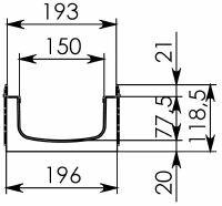 Чертеж: Комплект: Лоток водоотводный Super ЛВ -15.19,6.11,8 - пластиковый c решеткой чугунной, ВЧ50 кл. E (D)