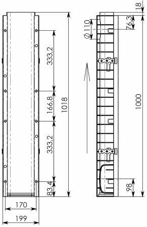 Чертеж 2: Лоток водоотводный Gidrolica Super ЛВ -15.19,6.11,8 - пластиковый, кл. E600
