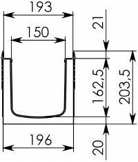 Чертеж: Комплект: Лоток водоотводный Super ЛВ -15.19,6.20,3 - пластиковый c решеткой чугунной, ВЧ50 кл. E (D)