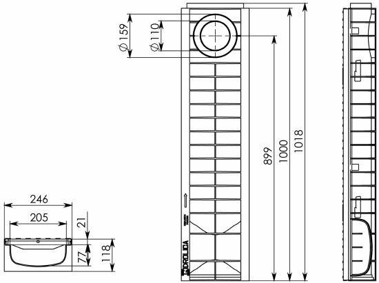 Чертеж: Комплект: Лоток водоотводный Super ЛВ -20.24,6.12 – пластиковый c решеткой чугунной кл. E (D)