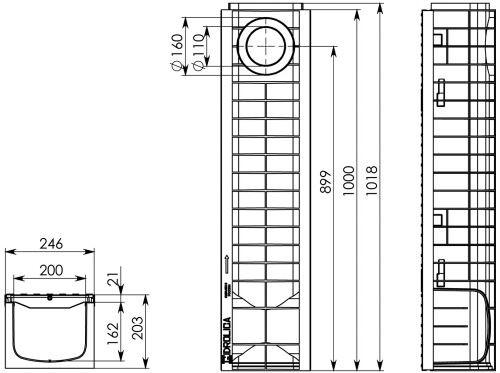 Чертеж: Комплект: Лоток водоотводный Super ЛВ -20.24,6.20 – пластиковый c решеткой чугунной кл. E (D)
