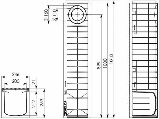 Чертеж: Комплект: Лоток водоотводный Super ЛВ -20.24,6.25 - пластиковый c решеткой чугунной кл. E (D)