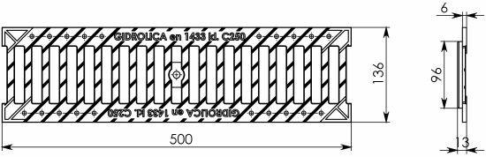 Решетка водоприемная Gidrolica Standart РВ-10.13,6.50 - щелевая чугунная ВЧ, кл. C250