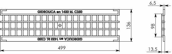 Решётка водоприёмная Gidrolica Standart РВ-10.13,6.50 ячеистая чугунная ВЧ оцинкованная, кл. C250