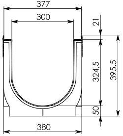 Чертеж: Комплект: Лоток водоотводный Super ЛВ-30.38.39,6 – пластиковый c решеткой чугунной кл. E (D)