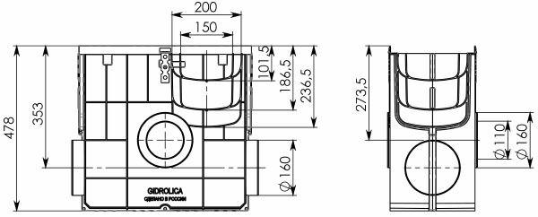 Комплект: Пескоуловитель Super ПУ-20.25.47,8 - пластиковый с решеткой чугунной кл.D (E)