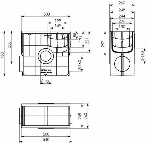 Пескоуловитель пластиковый Gidrolica Standart Plus ПУ-20.24,6.46