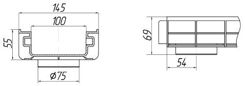 Чертеж лотка PolyMax Basic DN100 H55