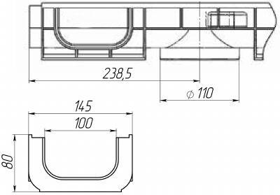 Чертеж лотка PolyMax Basic DN100 H80