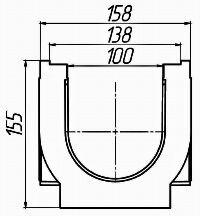 Чертеж: Лоток водоотводный PolyMax Basic ЛВ-10.16.16-ПП-пластиковый