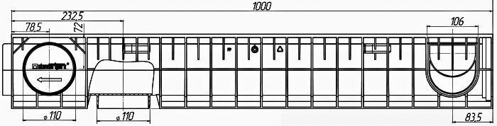 Чертеж лотка PolyMax Basic DN100 H155