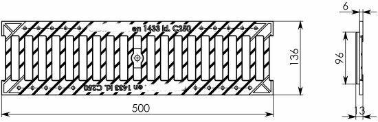 Решетка водоприемная Basic РВ-10.14.50 щелевая чугунная ВЧ оцинкованная, кл.С 203036