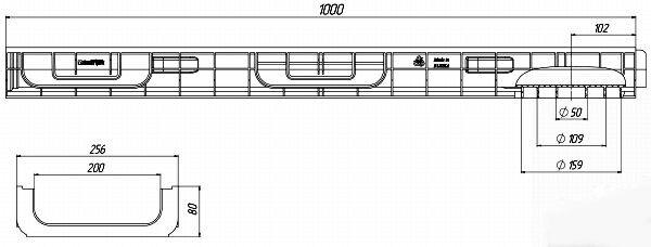 Чертеж лотка PolyMax Basic DN200 H80