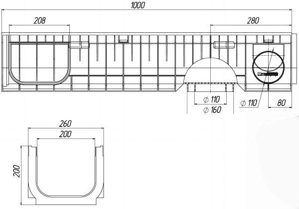 Чертеж лотка PolyMax Basic DN200 H200