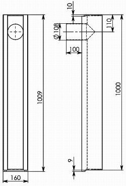 Типовая схема лотка BGU DN100 с вертикальным водоотводом