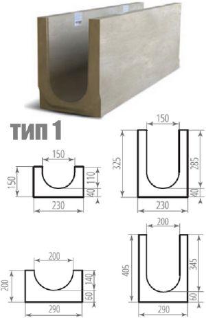 Дренажный бетонный лоток ЛВБ Plus, тип 1