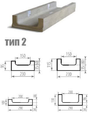Второй тип бетонного лотка ЛВБ Plus